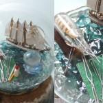 ボトルシップ ミニチュア 帆船模型 エスメラルダ