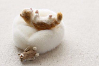 ミニチュア 羊毛フェルト cat ネコ 猫