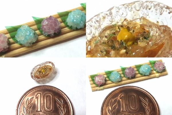 ミニチュアフード 和菓子 紫陽花 ところてん