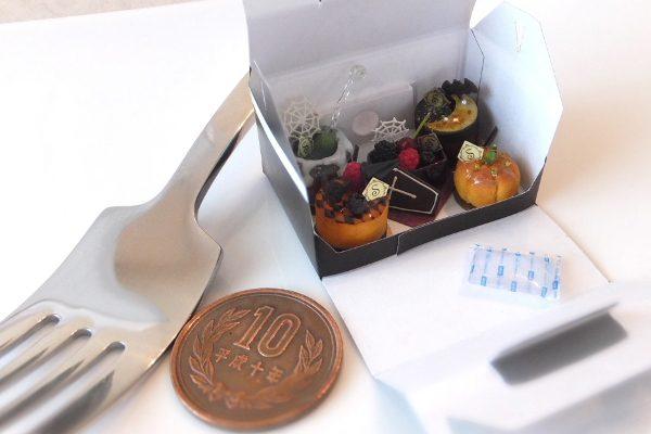 ミニチュア halloween ハロウィン ケーキ 箱 保冷剤