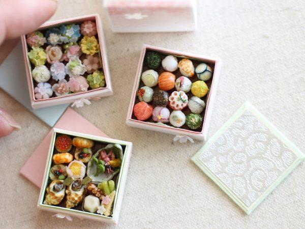 ミニチュア 手まり寿司 遊山箱 和菓子 春