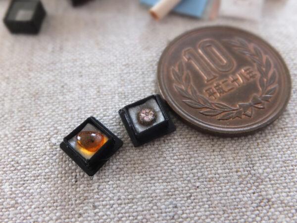 miniature handmade ミニチュア 菫青石 桜石 琥珀 amber