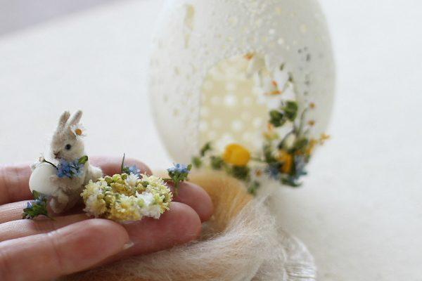 egg エッグアート カービング ミニチュア ウサギ